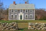 Old Cedar-shingled Colonial Home with Stone Walls in Front, Martha's Vineyard, Chilmark, MA