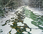 Snow and Ice in Cold River, Mohawk Trail State Forest, Berkshire Mountains, Charlemont, MA