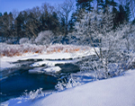 Snow, Heavy Frost, and Subzero Temperatures along the Williams River, Berkshire Mountains, Great Barrington, MA