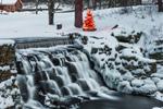 Waterfall and Lit Christmas Tree at Brown's Pond Dam, Petersham, MA