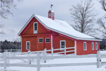 Red Barn with Cupola and White Fencing at Eaton Run, Est 1980, Dublin, NH