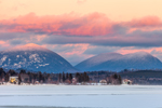 Setting Sun Lights Up Little Spencer and Big Spencer Mountain Tops, View across Frozen Moosehead Lake, Rockwood, ME