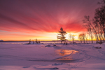 Dramatic Winter Sunrise on Frozen Moosehead Lake, View from Rockwood, ME