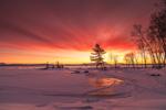 Dramatic Winter Sunrise on Frozen Moosehead Lake, View from Rockwood, ME