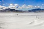 Gale Force Winds Blowing across Frozen Moosehead Lake, Greenville, ME