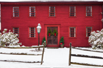 Old Red Colonial House with Split-rail Fence after Snowstorm, Suffield, CT