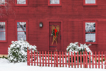 Red New England Colonial House Decorated with Old Snowshoes on Door, West Granby, Town of Granby, CT