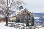 Natural Wood Barn with Cupola and Wooden Fence, West Windsor, VT