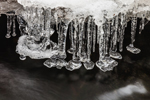 Ice Formations over Flowing Water in Gulf Brook, Athol, MA