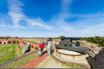 Visitors Examining Cannons on Terreplein of East and Southeast Walls, Fort Pulaski National Monument, Cockspur Island, GA