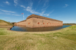 Exterior Walls of Fort Surrounded by Moat, Fort Pulaski National Monument, Cockspur Island, GA