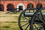 Close-up of Cannons on Parade Ground with Casemates in Background, Fort Pulaski National Monument, Cockspur Island, GA