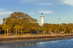View of St. Simons Island Lighthouse, Neptune Park, and Beach from Fishing Pier, St. Simons Island, GA