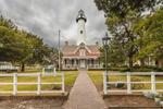 View of St. Simons Island Light Station (Lighthouse and Keepers' Dwelling) under Stormy Sky, St. Simons Island, GA