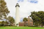 View of St. Simons Island Light Station (Lighthouse, Keepers' Dwelling, and Brick Oil House), St. Simons Island, GA