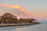 Sunset View of St. Simons Island Lighthouse, Neptune Park, and Beach from Fishing Pier, St. Simons Island, GA