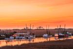 Sunrise over Salt Marshes and Shrimp Boats on Darien River, Darien, GA