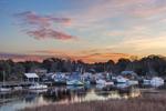 Sunrise over Shrimp Boat Fleet on Darien River, Darien, GA