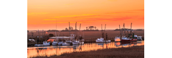 Sunrise over Salt Marshes and Shrimp Boats on Darien River, Darien, GA