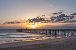 Sunrise over Atlantic Ocean at Flagler Beach Pier, View from Ocean Walk Park, Flagler Beach, FL
