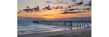 Sunrise over Atlantic Ocean at Flagler Beach Pier, View from Ocean Walk Park, Flagler Beach, FL