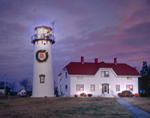 Chatham Lighthouse with Holiday Lights and Wreath, Cape Cod, Chatham, MA