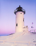 Nobska Point Light at Sunrise after Snowstorm, Vineyard Sound, Cape Cod, Woods Hole, Falmouth, MA