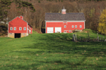 Early Evening Light on Red Barns at High Valley Farm in Spring, Taconic Mountains, Copake Falls, NY