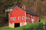 Early Evening Light on Red Barn at High Valley Farm in Spring, Taconic Mountains, Copake Falls, NY