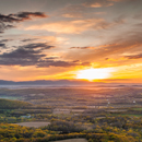Panoramic View of Hudson River Valley at Sunset from Taconic Mountains State Park out to Catskill Mountains, View from Copake Falls, NY