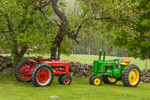 Tractors in Farm Field near Stone Wall in Spring, Royalston, MA