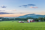 Red Barns, Silo, and Fields at Sunset, Vermont Agricultural Business Center, Brattleboro, VT (Wantastiquet Mountain Natural Area, Hinsdale, NH in Background)
