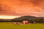 Dramatic Storm Clouds at Sunset over Red Barns and Fields at Vermont Agricultural Business Center, Brattleboro, VT (Wantastiquet Mountain Natural Area, Hinsdale, NH in Background)