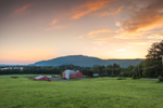 Sunrise over Red Barns and Fields at Vermont Agricultural Business Center, Brattleboro, VT (Wantastiquet Mountain Natural Area, Hinsdale, NH in Background)