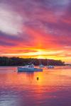 Boats and Colorful Sunset Reflections in Lake Tashmoo, Martha's Vineyard, Tisbury, MA