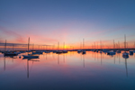 Sailboat Silhouettes at Predawn in Vineyard Haven Harbor, Martha's Vineyard, Tisbury, MA