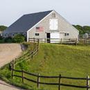 Cedar-shingled Barn with American Flag and Split-rail Fence, Martha's Vineyard, Edgartown, MA