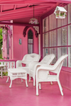 White Chairs on Porch of The Pink House, Martha's Vineyard Camp Meeting Association, National Register of HIstoric Places, Oak Bluffs, MA