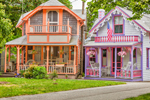 Colorful Gingerbread Houses, Martha's Vineyard Camp Meeting Association, National Register of HIstoric Places, Oak Bluffs, MA