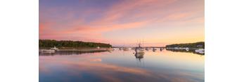 Boats and Clouds Reflecting in Calm Water on Lake Tashmoo at Predawn, Martha's Vineyard, Tisbury, MA