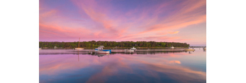 Boats and Clouds Reflecting in Calm Water on Lake Tashmoo at Predawn, Martha's Vineyard, Tisbury, MA