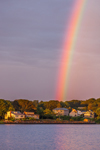 Rainbow over Houses on Shoreline of Point Judith Pond, South Kingstown, RI