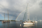Dramatic Storm Clouds and Rainbow over Boats in Camden Harbor, Camden, ME