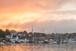 Sunset Through Stormy Skies over Boats in Camden Harbor, Camden, ME