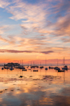 Dramatic Sunrise over Boats in Camden Harbor, Camden, ME