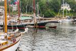 """Schooners """"Grace Bailey,"""" """"Mistress"""" and """"Olad"""" at Docks in Camden Harbor, Camden, ME"""
