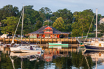 Camden Yacht Club and Boats in Camden Harbor in Early Morning Light, Camden, ME