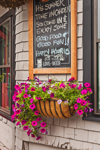 Flower Box and Welcome Board at Storefront of Cuzzy's Restaurant, Downtown Camden, Camden, ME