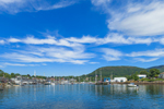 View of Camden Harbor, Mount Battie, and Camden Hills, Camden, ME