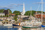 Steeple of St. Thomas Episcopal Church and Boats in Camden Harbor, Camden, ME